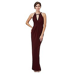 No. 1 Jenny Packham - Dark red embellished straps maxi dress