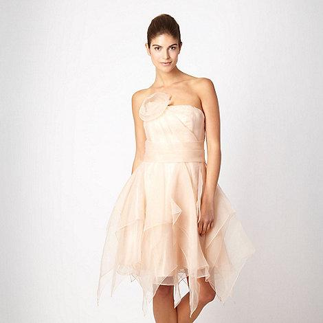 No. 1 Jenny Packham - Designer pale peach panelled bandeau prom dress
