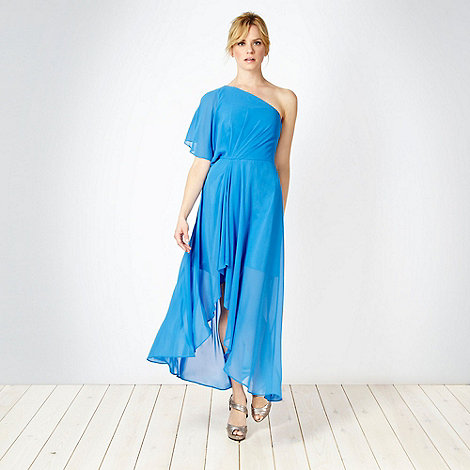 No. 1 Jenny Packham - Designer bright blue asymmetric one shoulder maxi dress