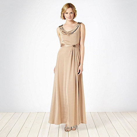 No. 1 Jenny Packham - Designer gold cowl jersey maxi dress