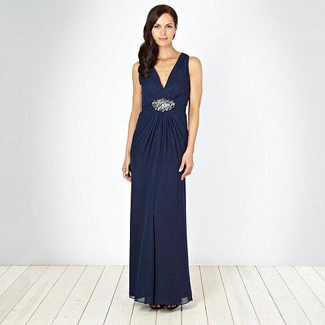 No. 1 Jenny Packham - Designer dark blue beaded empire line maxi dress
