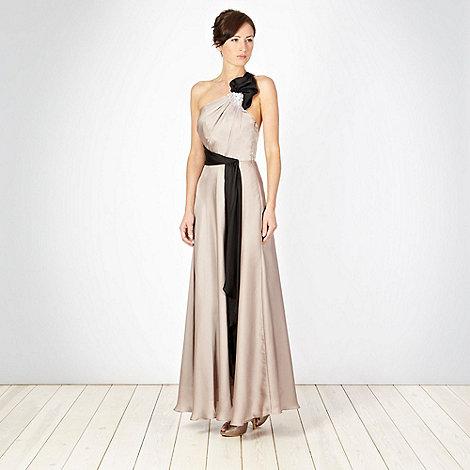 No. 1 Jenny Packham - Designer taupe colour block bow one shoulder dress