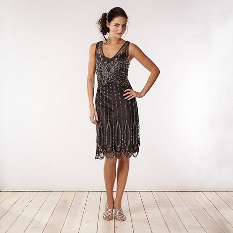 No. 1 Jenny Packham - Designer dark grey embellished mesh dress