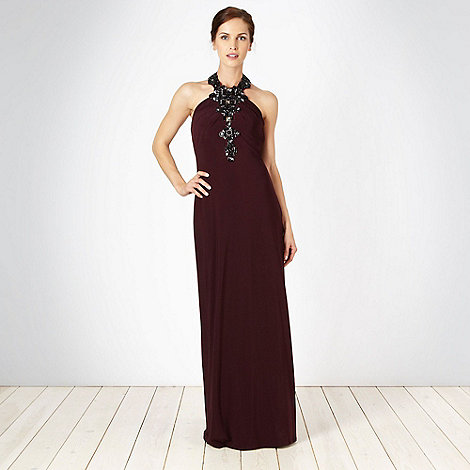 No. 1 Jenny Packham - Designer burgundy beaded halter neck maxi dress