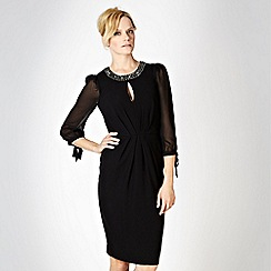 No. 1 Jenny Packham - Black embellished neck evening dress