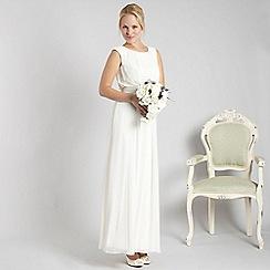 Debut - Ivory ruched embellished waist cocktail dress