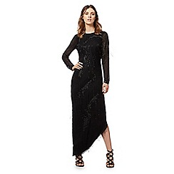 Butterfly by Matthew Williamson - Black asymmetric fringed maxi dress