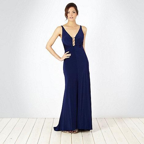 Pearce II Fionda - Designer dark blue ringed maxi dress