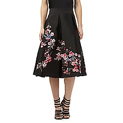Butterfly by Matthew Williamson - Black A-line bird and floral print skirt