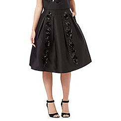 Siren by Giles Deacon - Black floral sequinned skirt