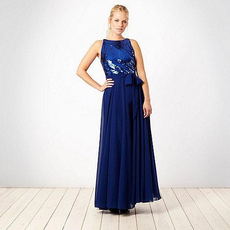 Principles by Ben de Lisi - Designer dark blue sequin bodice maxi dress