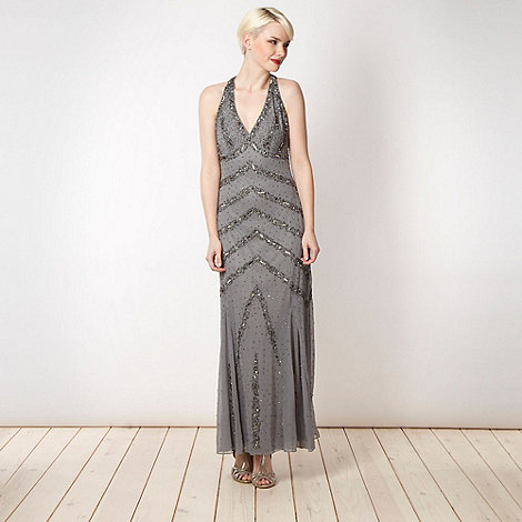 Principles by Ben de Lisi - Designer grey cut out back maxi dress