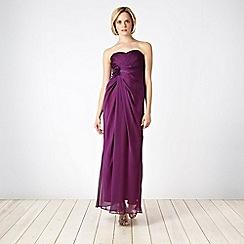 Debut - Plum corsage bandeau maxi dress