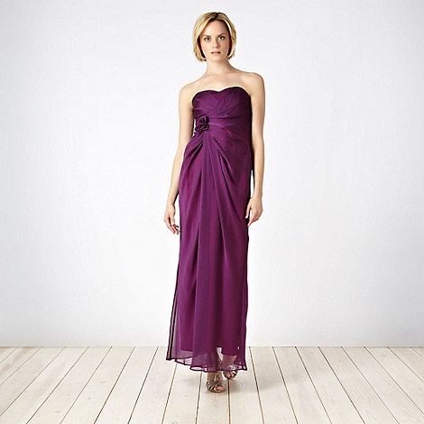 Debut - Plum corsage bandeau maxi dress