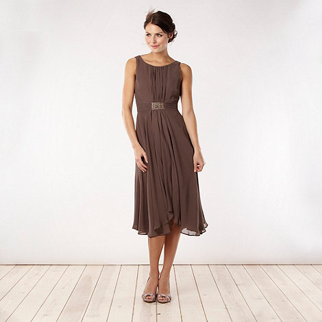 Debut - Light brown embellished empire line party dress
