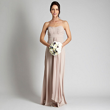 Debut - Light brown ruched bust bandeau maxi dress