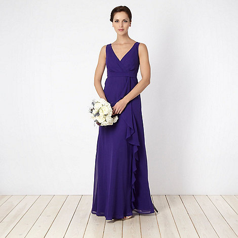 Debut - Purple asymmetric ruffled maxi dress
