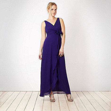 Debut - Dark purple corsage trim maxi length dress