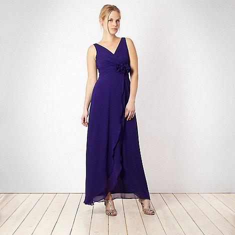 Debut - Dark purple corsage trim maxi length dress