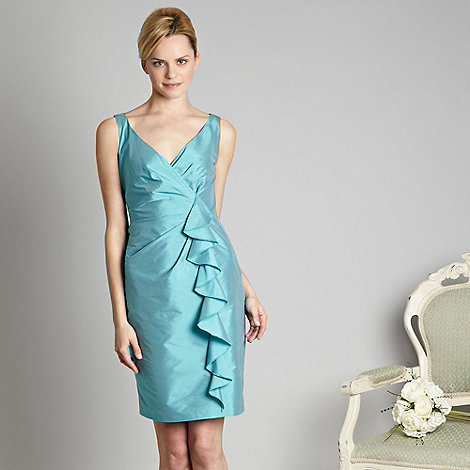 Debut - Aqua waterfall shantung dress