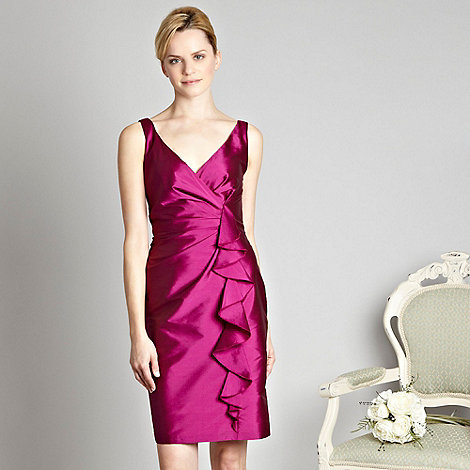 Debut - Bright pink waterfall shantung dress