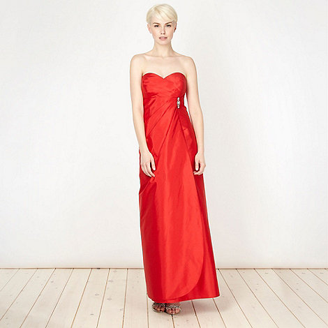 Debut - Red diamante brooch bandeau ball gown