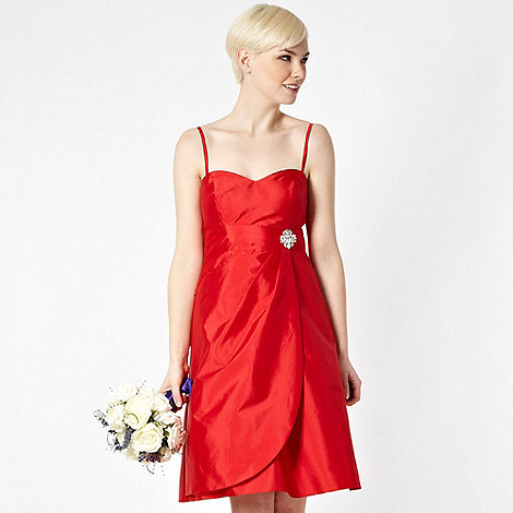 Debut - Red diamante brooch bandeau prom dress