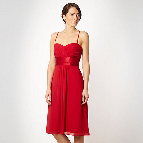 Debut - Red ruched bandeau dress