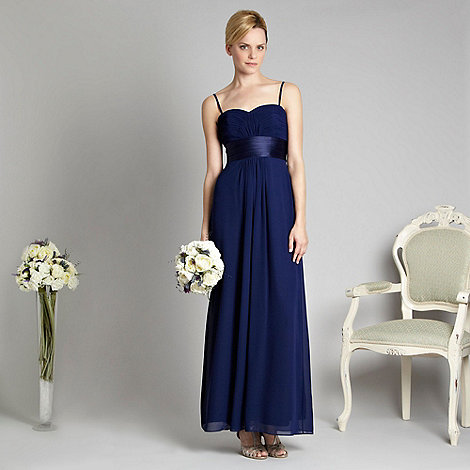 Debut - Dark blue pleated bust bandeau maxi dress