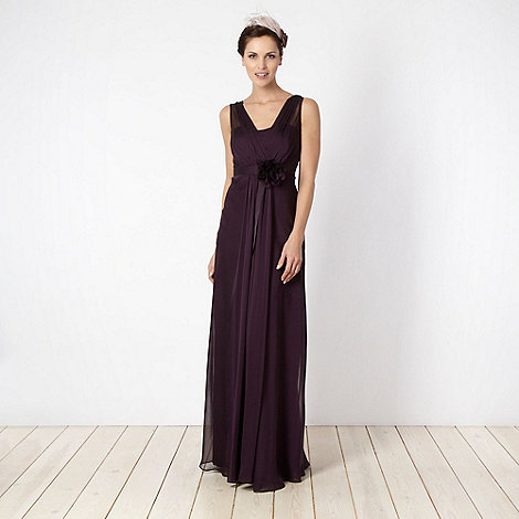 Debut - Purple ruched georgette bandeau maxi dress