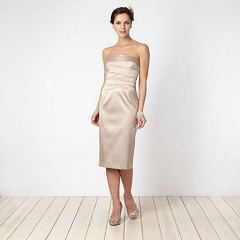 Debut - Light gold layered bodice prom dress