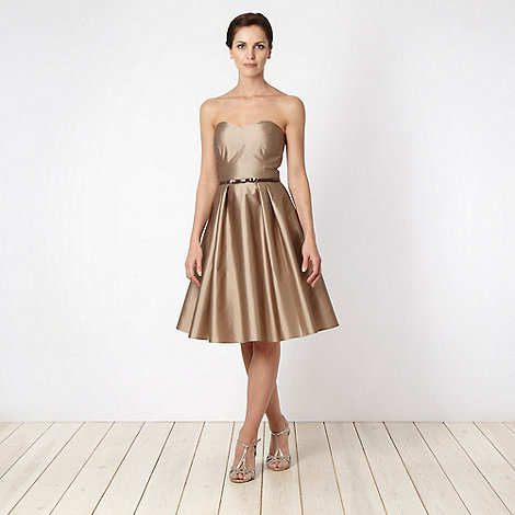 Debut - Light gold bandeau necked prom dress