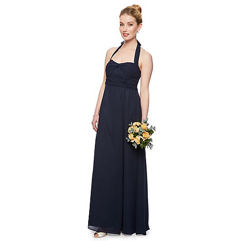 Debut - Grace Halter Twist Bodice Chiffon Maxi Dress