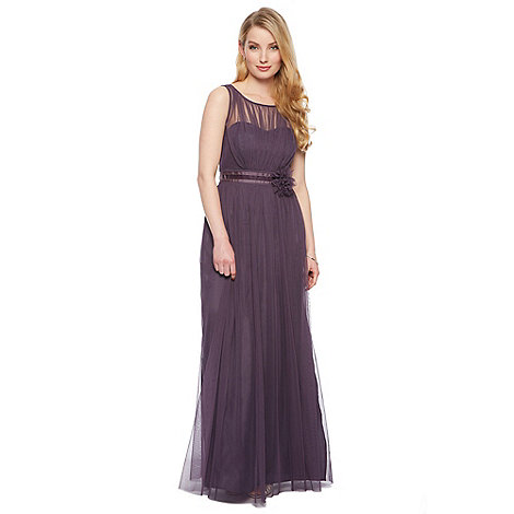 Debut - Celine Mesh Bodice Maxi Dress with Corsage