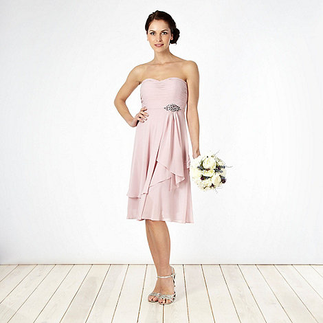 Debut - Light pink embellished ruched bust dress