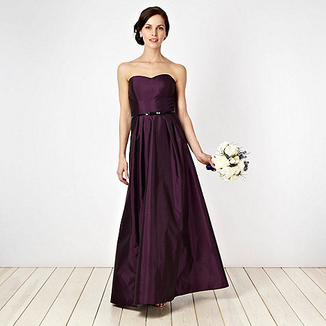 Debut - Dark purple taffeta bandeau ball gown