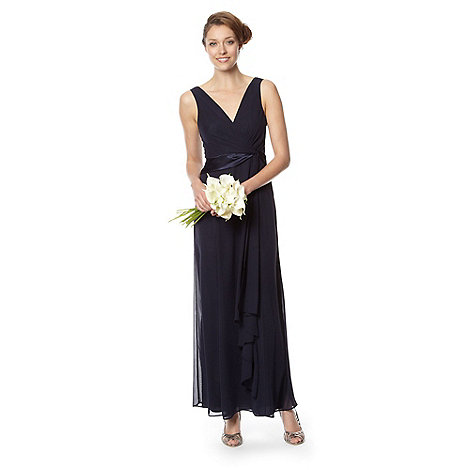 Debut - Navy satin twist front maxi dress