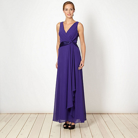 Debut - Purple satin twist front maxi dress