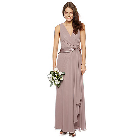 Debut - Taupe satin twist maxi dress