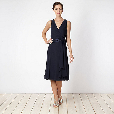 Debut - Navy satin twist front midi cocktail dress