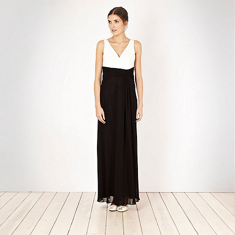 Debut - Black colour block chiffon maxi dress