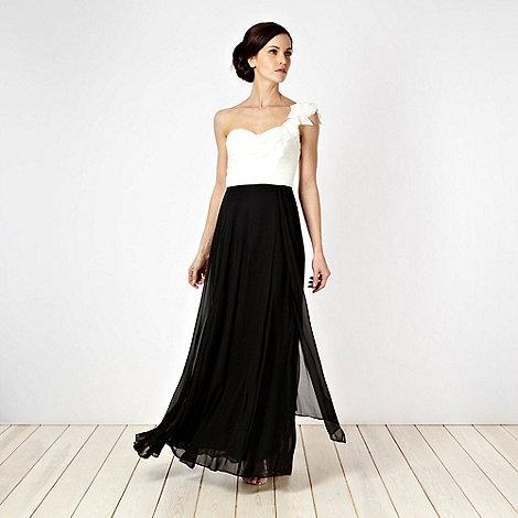Debut - Black appliqued petal one-shoulder maxi dress