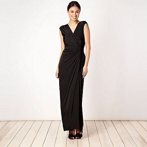 Debut - Black asymmetric knot detail jersey dress