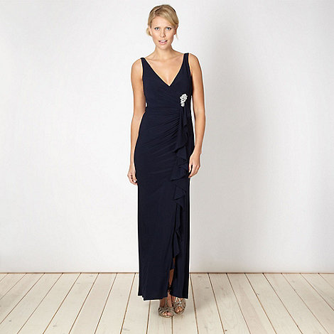Debut - Navy waterfall front jersey maxi dress