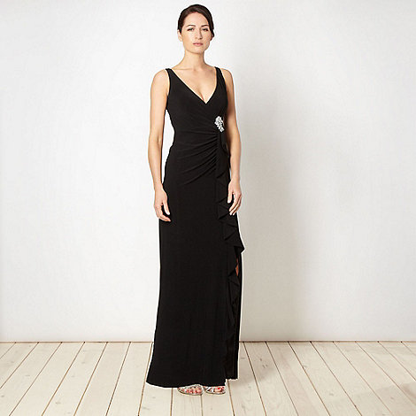 Debut - Black waterfall jersey maxi dress