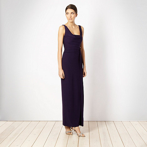 Debut - Dark purple cowl neck jersey maxi dress