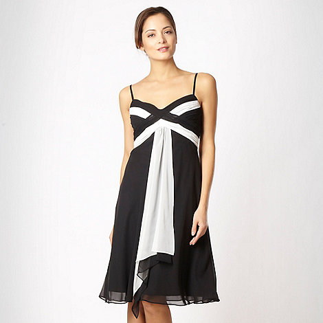Debut - Black colour block waterfall cocktail dress