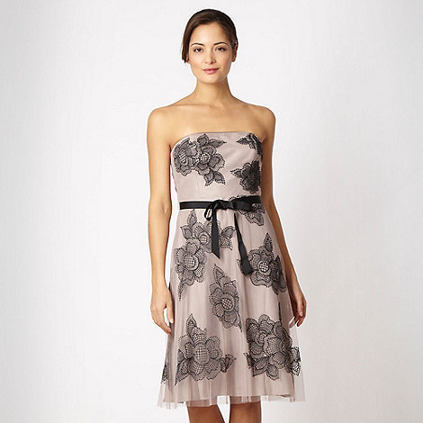 Debut - Taupe embroidered bandeau dress