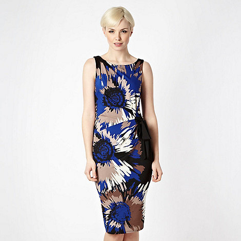 Debut - Bright blue graphic flower jersey dress