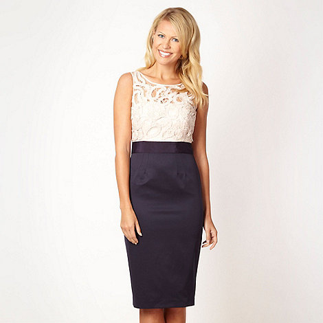 Debut - Navy cut work bodice shift dress